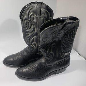 Laredo Faux Leather Mens Black Cowboy Boots 8.5